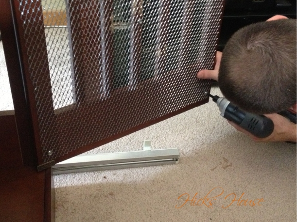 then screwed the mesh in place using the pre-drilled holes