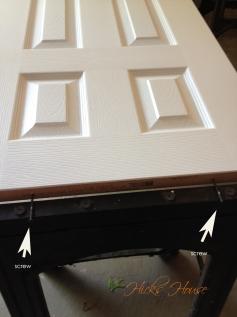Bottom of the door with two screws