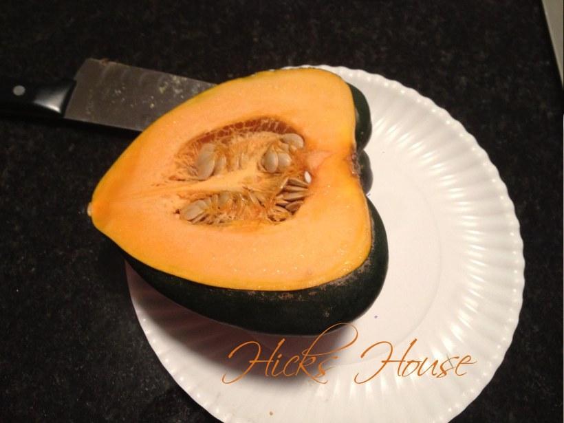 cut acorn squash in half lengthwise