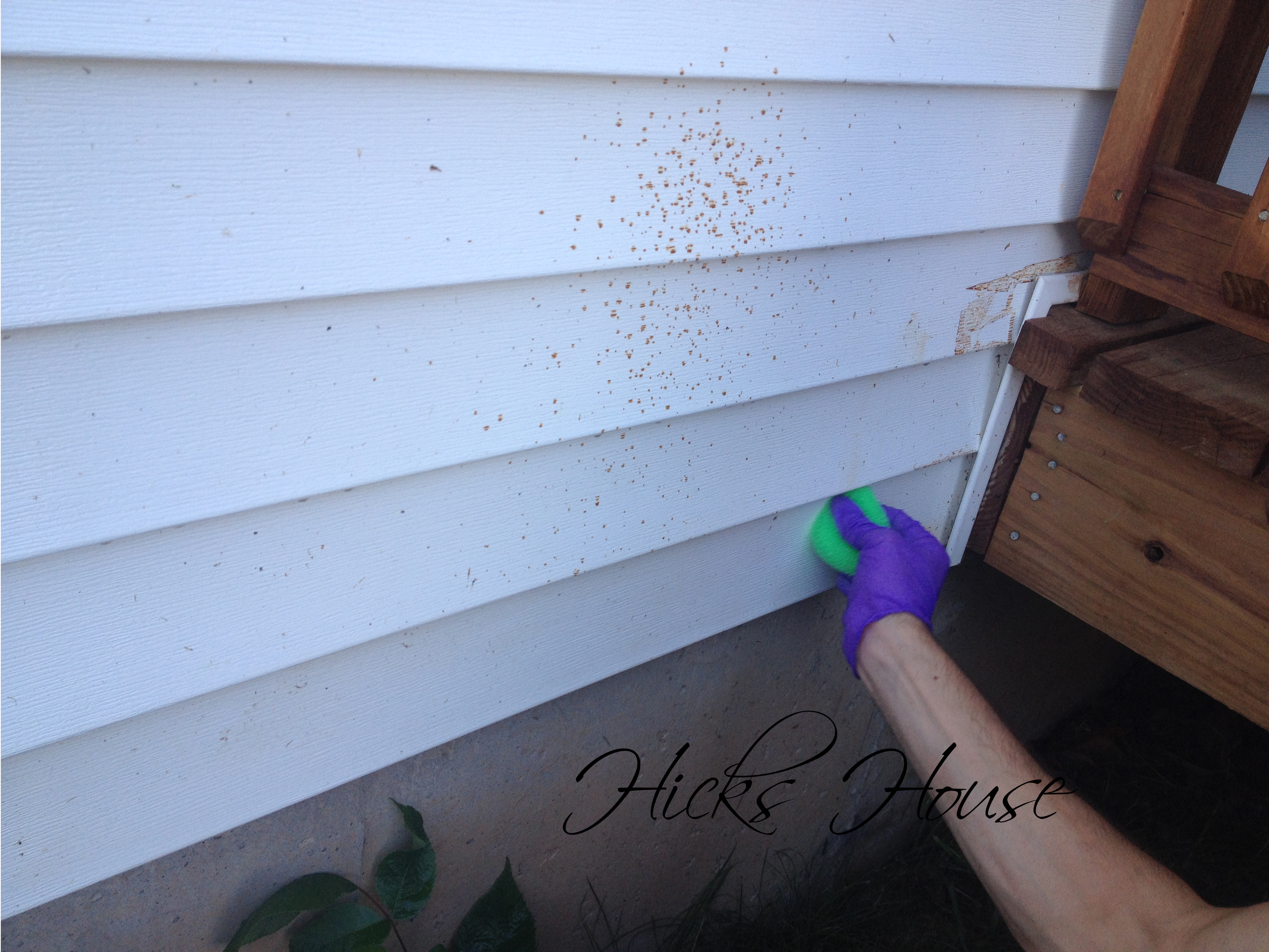 how to remove stain from vinyl siding hicks house. Black Bedroom Furniture Sets. Home Design Ideas