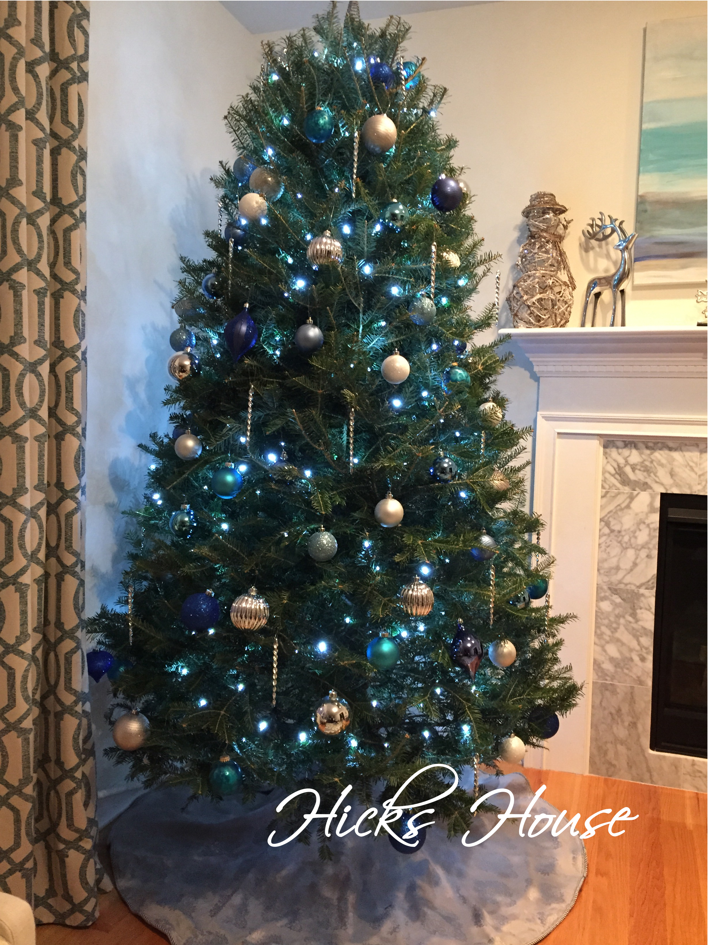 Blue christmas trees decorating ideas - Hicks House Christmas 2014